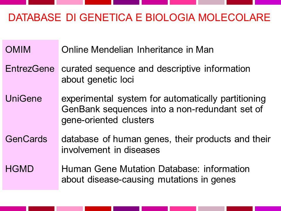 DATABASE DI GENETICA E BIOLOGIA MOLECOLARE OMIM http://www.ncbi.nlm.nih.gov/entrez/query.fcgi?db=OMIM EntrezGene http://www.ncbi.nlm.nih.gov/entrez/query.fcgi?CMD=search&DB=gene UniGene http://www.ncbi.nlm.nih.gov/entrez/query.fcgi?db=unigene GenCards http://bioinformatics.weizmann.ac.il/cards/ HGMD http://archive.uwcm.ac.uk/uwcm/mg/hgmd0.html