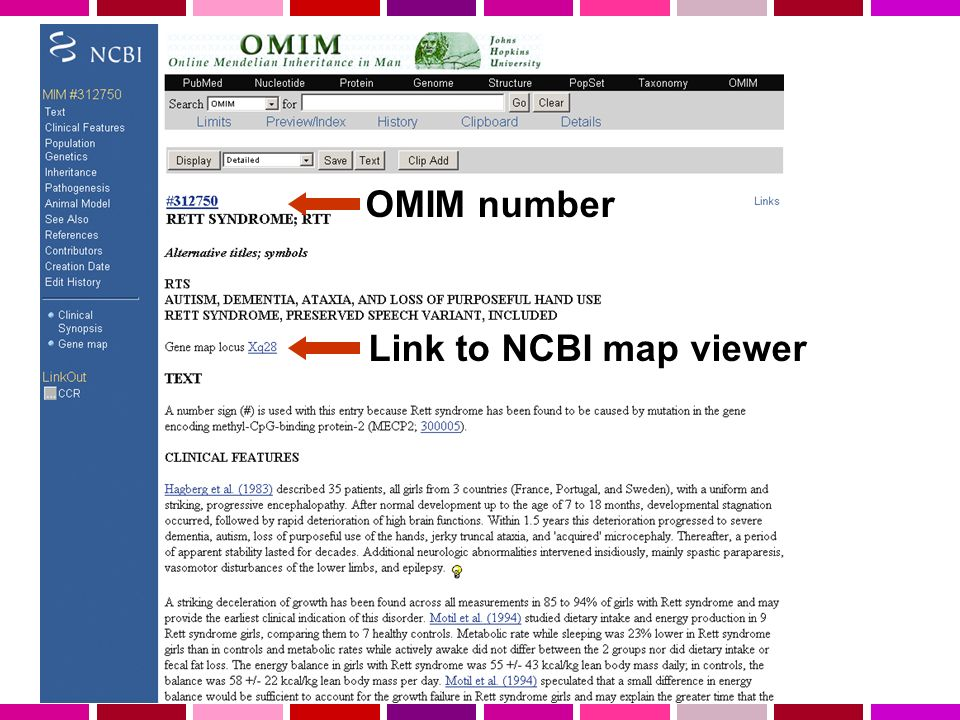 Link to NCBI map viewer OMIM number
