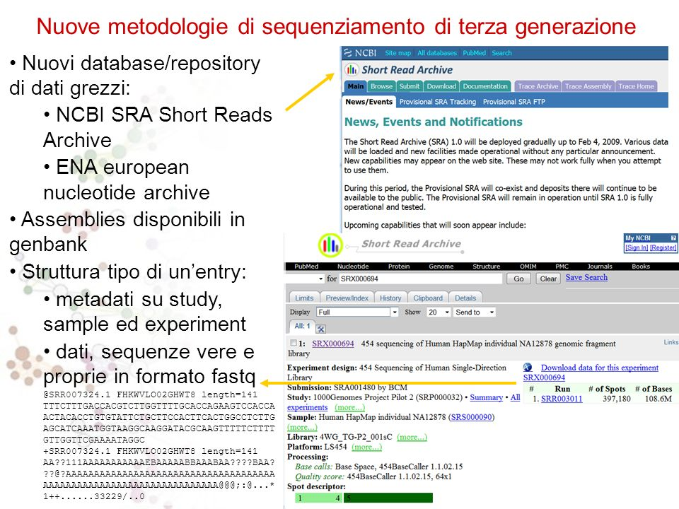 Nuovi database/repository di dati grezzi: NCBI SRA Short Reads Archive ENA european nucleotide archive Assemblies disponibili in genbank Struttura tipo di unentry: metadati su study, sample ed experiment dati, sequenze vere e proprie in formato fastq @SRR007324.1 FHKWVLO02GHWT8 length=141 TTTCTTTGACCACGTCTTGGTTTTGCACCAGAAGTCCACCA ACTACACCTGTGTATTCTGCTTCCACTTCACTGGCCTCTTG AGCATCAAATGGTAAGGCAAGGATACGCAAGTTTTTCTTTT GTTGGTTCGAAAATAGGC +SRR007324.1 FHKWVLO02GHWT8 length=141 AA 111AAAAAAAAAAAEBAAAAABBAAABAA BAA.