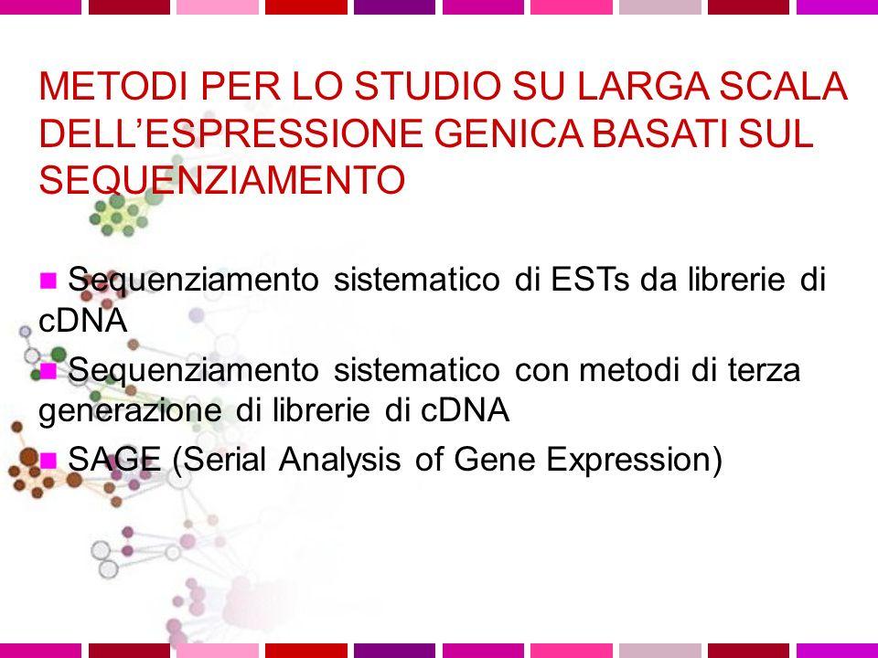 METODI PER LO STUDIO SU LARGA SCALA DELLESPRESSIONE GENICA BASATI SUL SEQUENZIAMENTO Sequenziamento sistematico di ESTs da librerie di cDNA Sequenziam