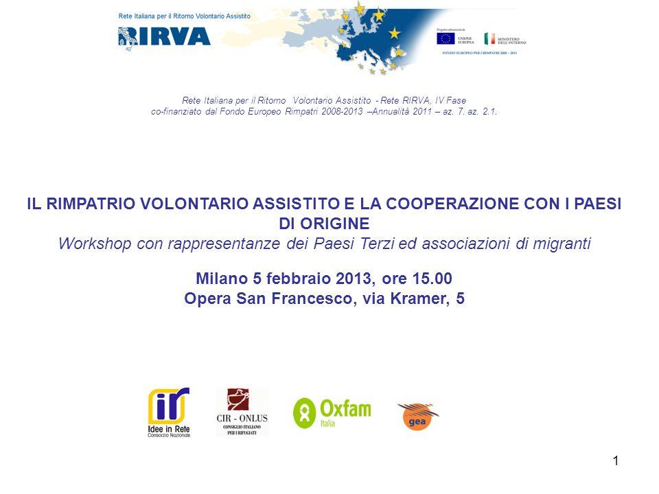 1 Rete Italiana per il Ritorno Volontario Assistito - Rete RIRVA, IV Fase co-finanziato dal Fondo Europeo Rimpatri 2008-2013 –Annualità 2011 – az. 7.
