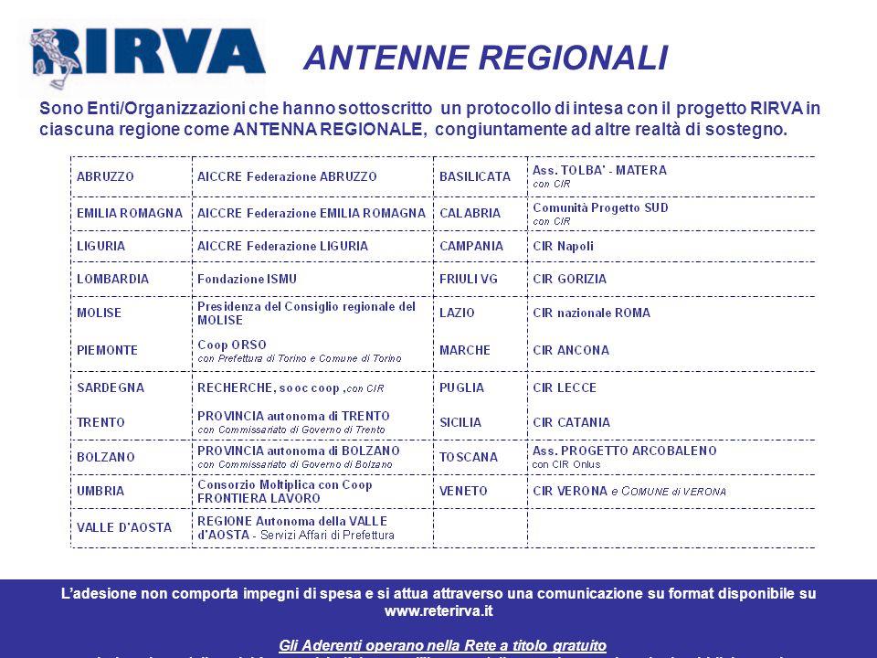 11 ANTENNE REGIONALI Sono Enti/Organizzazioni che hanno sottoscritto un protocollo di intesa con il progetto RIRVA in ciascuna regione come ANTENNA RE