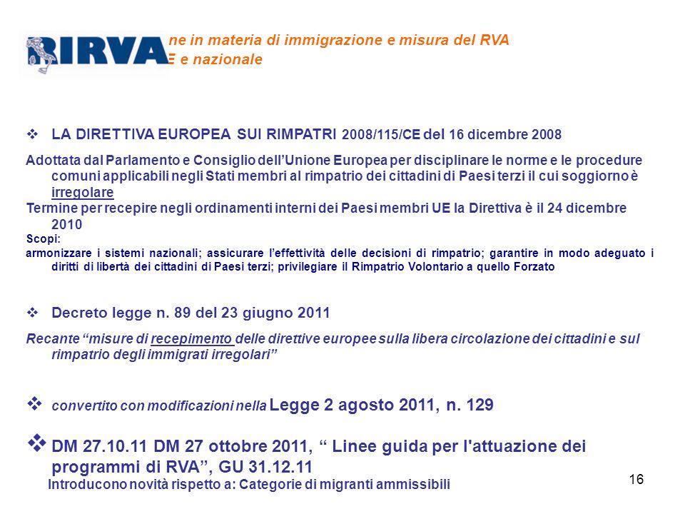 16 Legislazione in materia di immigrazione e misura del RVA a livello UE e nazionale LA DIRETTIVA EUROPEA SUI RIMPATRI 2008/115/CE del 16 dicembre 200
