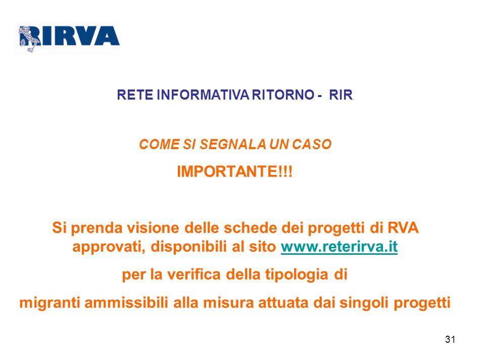 31 RETE INFORMATIVA RITORNO - RIR COME SI SEGNALA UN CASO IMPORTANTE!!! Si prenda visione delle schede dei progetti di RVA approvati, disponibili al s