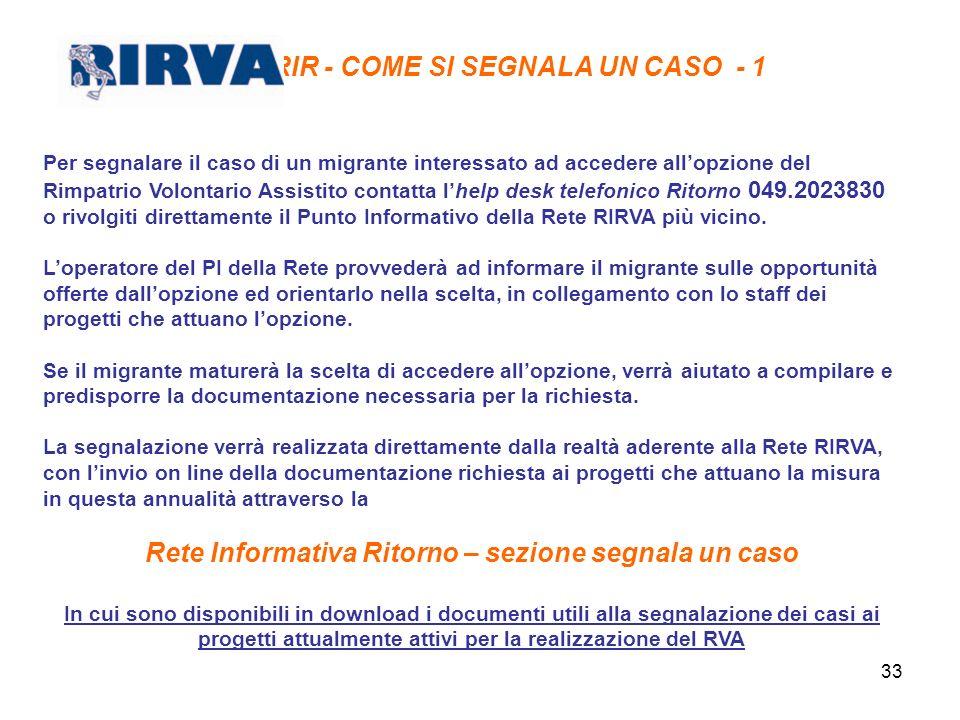 33 RIR - COME SI SEGNALA UN CASO - 1 Per segnalare il caso di un migrante interessato ad accedere allopzione del Rimpatrio Volontario Assistito contat