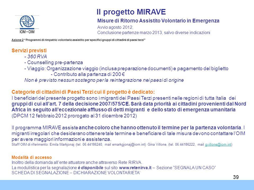 39 Il progetto MIRAVE Misure di Ritorno Assistito Volontario in Emergenza Avvio agosto 2012, Conclusione partenze marzo 2013, salvo diverse indicazion