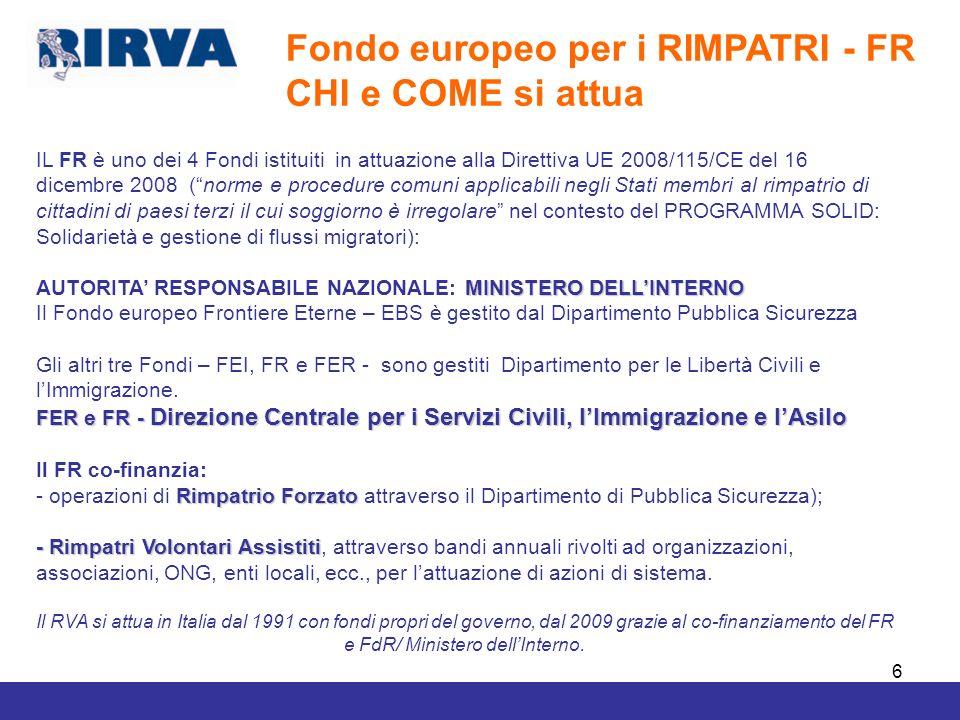 7 Fondo europeo Rimpatri FR2008-2013 Fondo europeo Rimpatri FR2008-2013 IL SISTEMA DI AZIONI CHE ATTUANO IL RVA IN ITALIA – FR AP 2011 luglio-agosto 2012/30 giugno 2013 Rete RIRVA, IV fase – az.