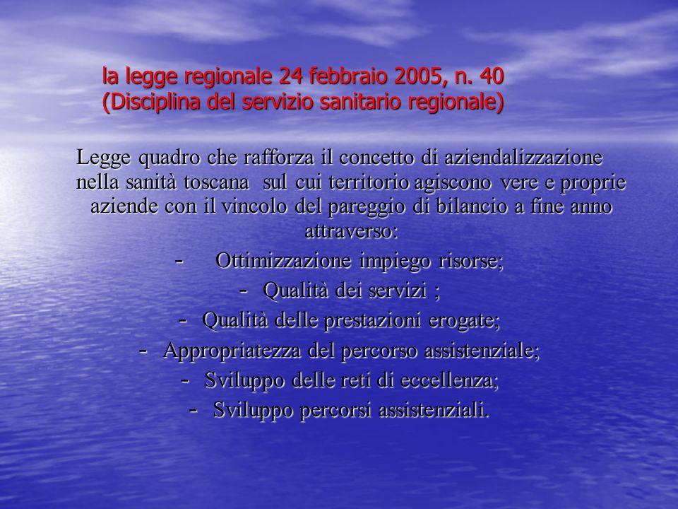 la legge regionale 24 febbraio 2005, n. 40 (Disciplina del servizio sanitario regionale) Legge quadro che rafforza il concetto di aziendalizzazione ne