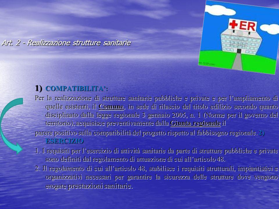 Art. 2 - Realizzazione strutture sanitarie 1) COMPATIBILITA: Per la realizzazione di strutture sanitarie pubbliche e private e per lampliamento di que