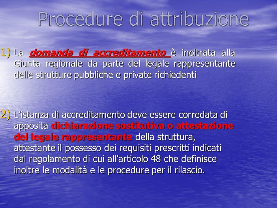 1) La domanda di accreditamento è inoltrata alla Giunta regionale da parte del legale rappresentante delle strutture pubbliche e private richiedenti 2