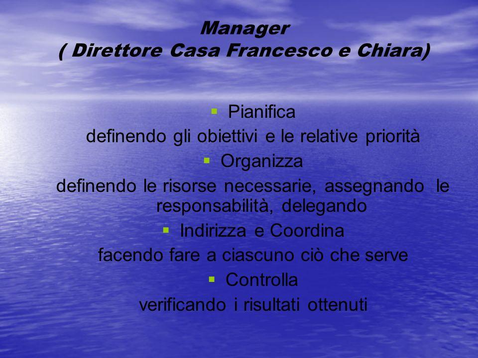 Manager ( Direttore Casa Francesco e Chiara) Pianifica definendo gli obiettivi e le relative priorità Organizza definendo le risorse necessarie, asseg