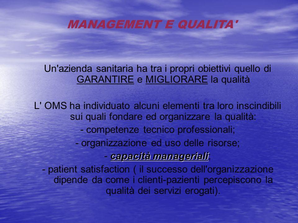 MANAGEMENT E QUALITA' Un'azienda sanitaria ha tra i propri obiettivi quello di GARANTIRE e MIGLIORARE la qualità L' OMS ha individuato alcuni elementi