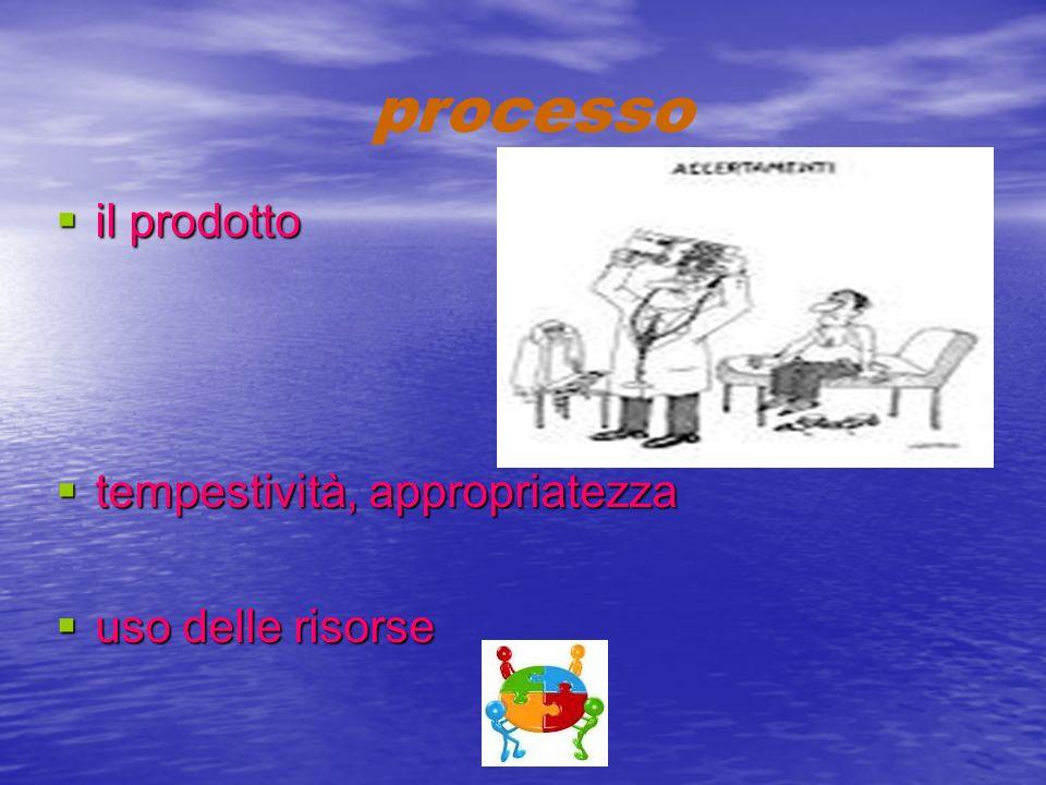 processo il prodotto il prodotto tempestività, appropriatezza tempestività, appropriatezza uso delle risorse uso delle risorse