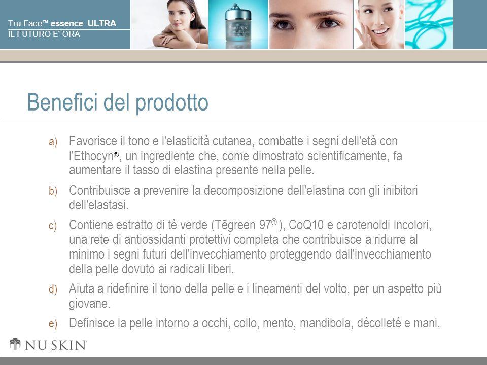 © 2001 Nu Skin International, Inc Tru Face essence ULTRA IL FUTURO E' ORA Benefici del prodotto a) Favorisce il tono e l'elasticità cutanea, combatte