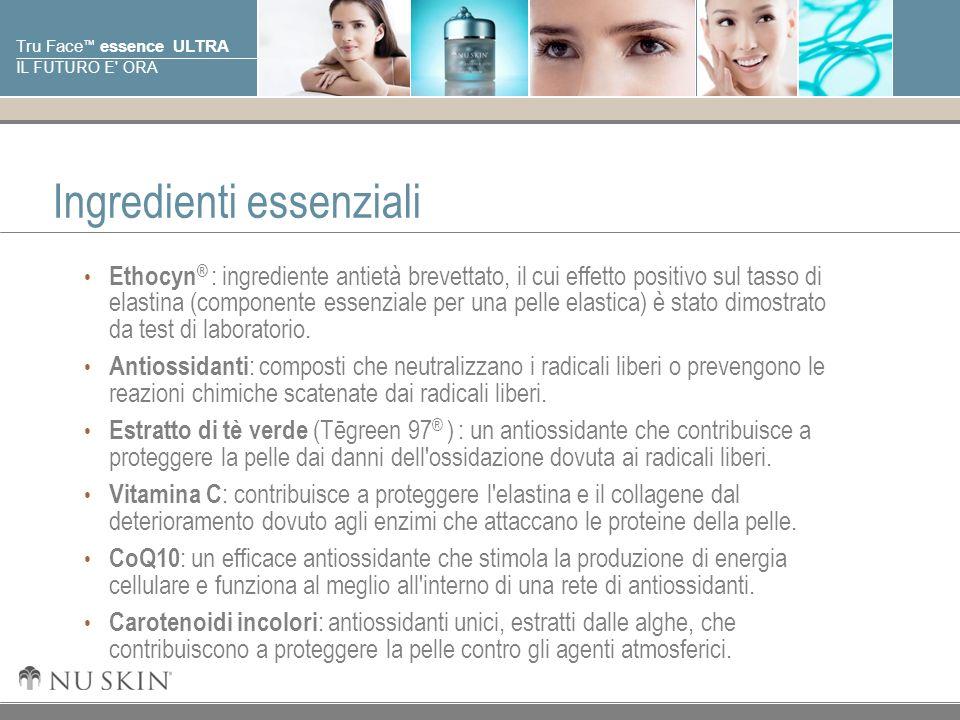 © 2001 Nu Skin International, Inc Tru Face essence ULTRA IL FUTURO E' ORA Ingredienti essenziali Ethocyn ® : ingrediente antietà brevettato, il cui ef