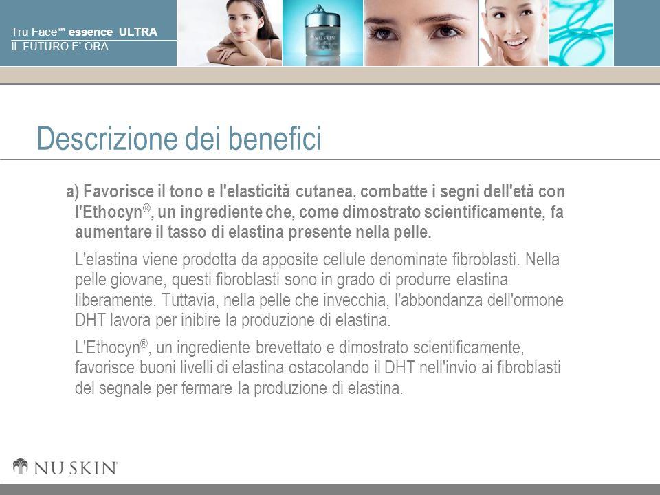 © 2001 Nu Skin International, Inc Tru Face essence ULTRA IL FUTURO E' ORA Descrizione dei benefici a) Favorisce il tono e l'elasticità cutanea, combat