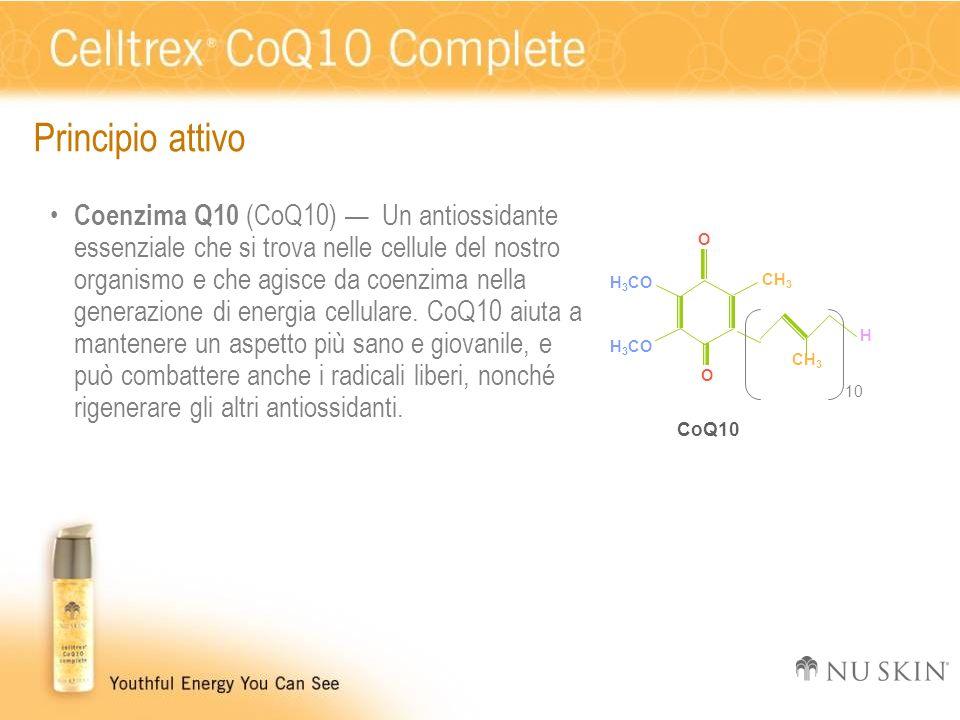Principio attivo Coenzima Q10 (CoQ10) Un antiossidante essenziale che si trova nelle cellule del nostro organismo e che agisce da coenzima nella gener