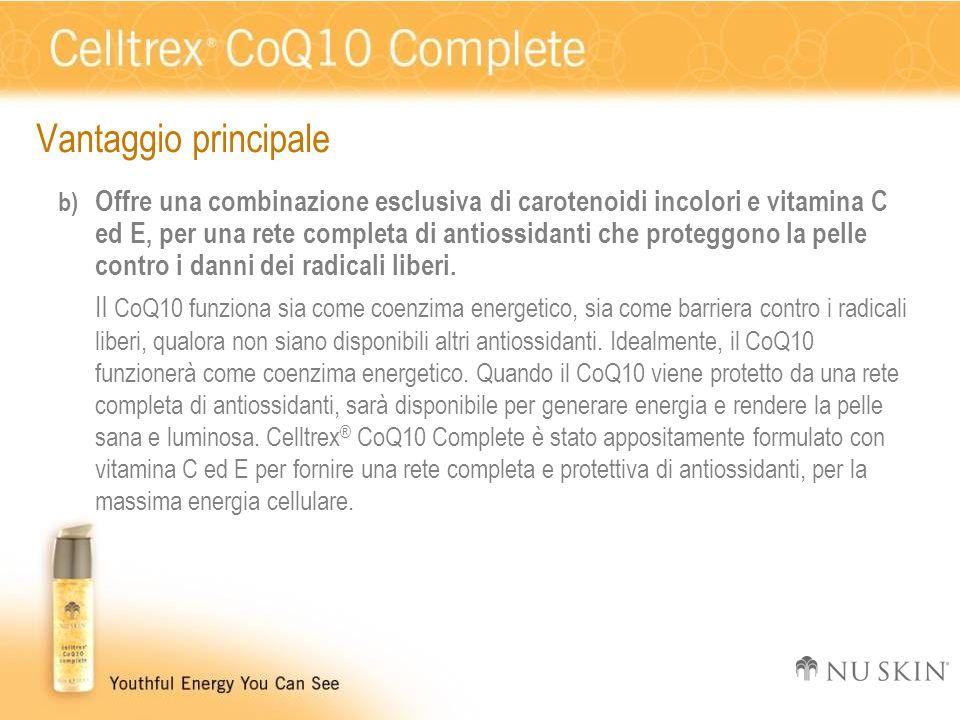 Vantaggio principale b) Offre una combinazione esclusiva di carotenoidi incolori e vitamina C ed E, per una rete completa di antiossidanti che protegg