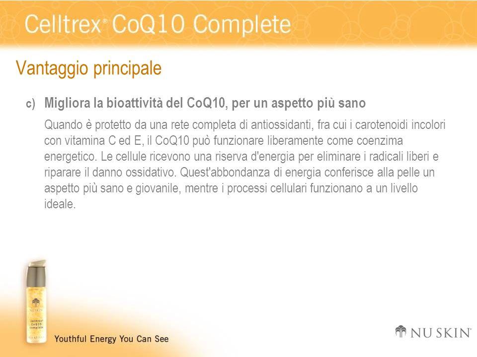 Vantaggio principale c) Migliora la bioattività del CoQ10, per un aspetto più sano Quando è protetto da una rete completa di antiossidanti, fra cui i