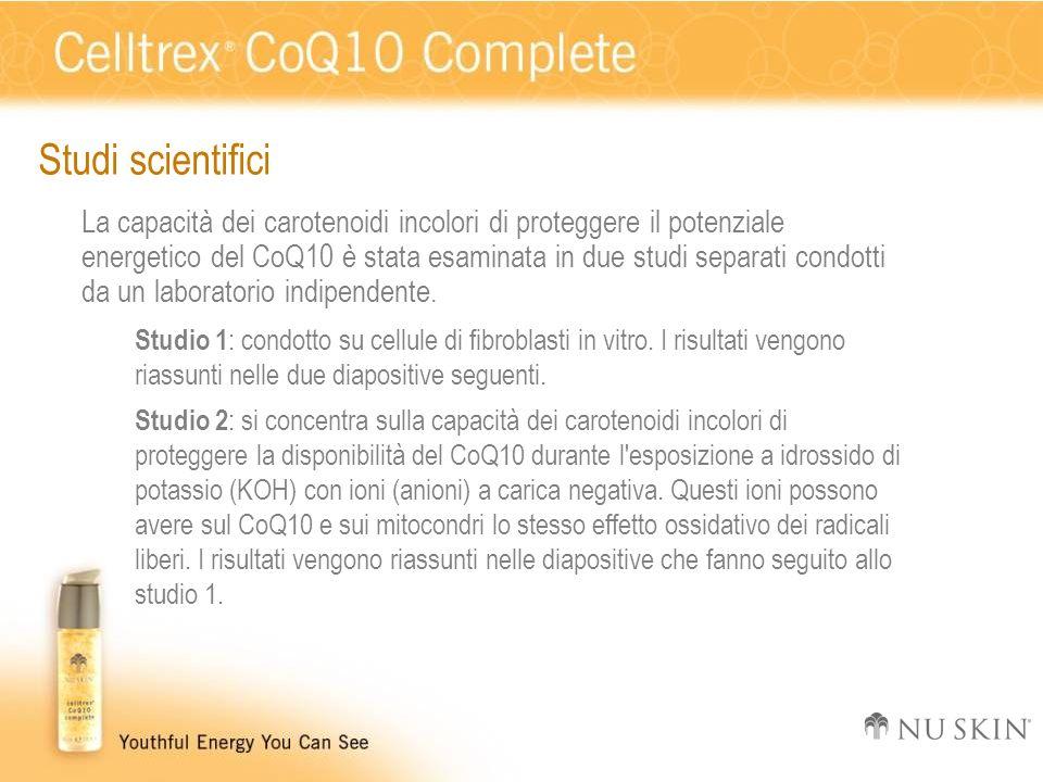 Studi scientifici La capacità dei carotenoidi incolori di proteggere il potenziale energetico del CoQ10 è stata esaminata in due studi separati condot
