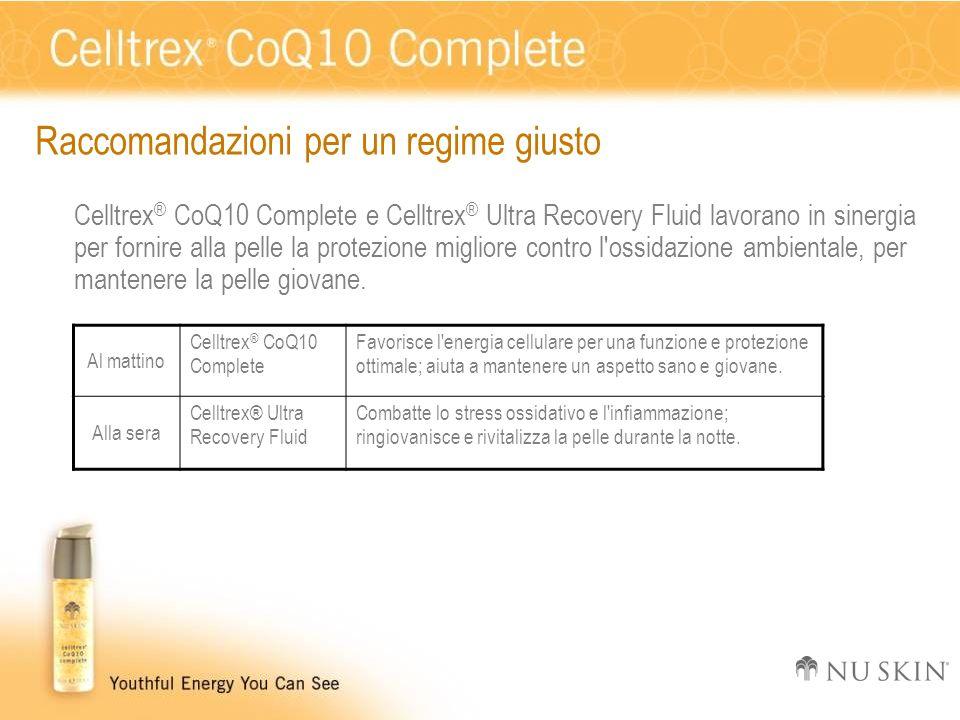 Raccomandazioni per un regime giusto Celltrex ® CoQ10 Complete e Celltrex ® Ultra Recovery Fluid lavorano in sinergia per fornire alla pelle la protez
