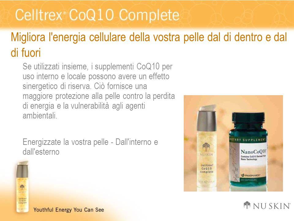 Migliora l'energia cellulare della vostra pelle dal di dentro e dal di fuori Se utilizzati insieme, i supplementi CoQ10 per uso interno e locale posso