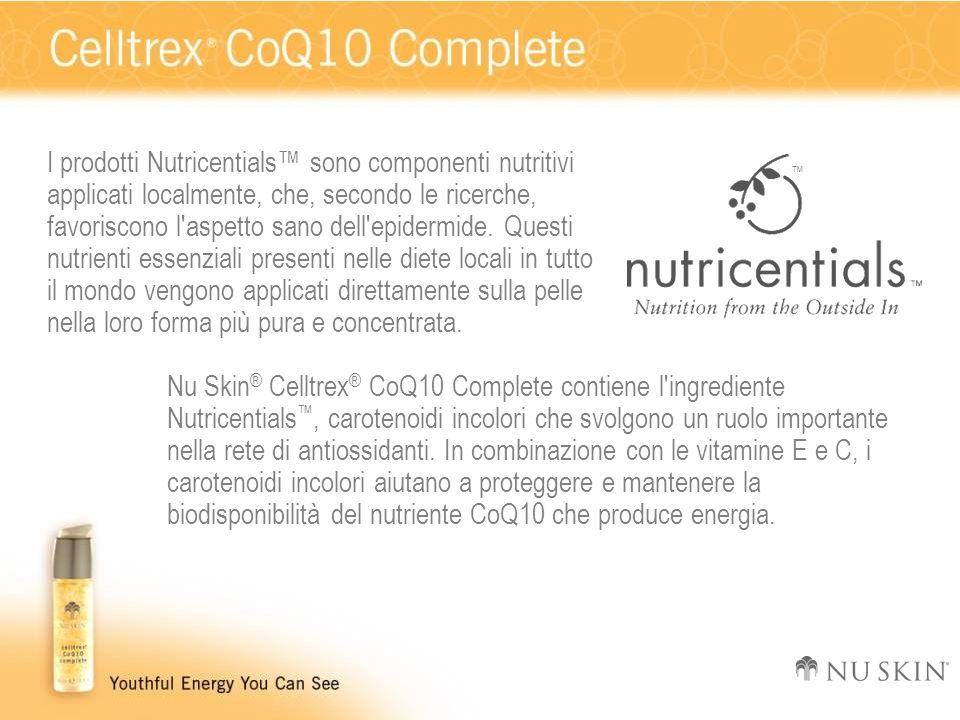 I prodotti Nutricentials sono componenti nutritivi applicati localmente, che, secondo le ricerche, favoriscono l'aspetto sano dell'epidermide. Questi