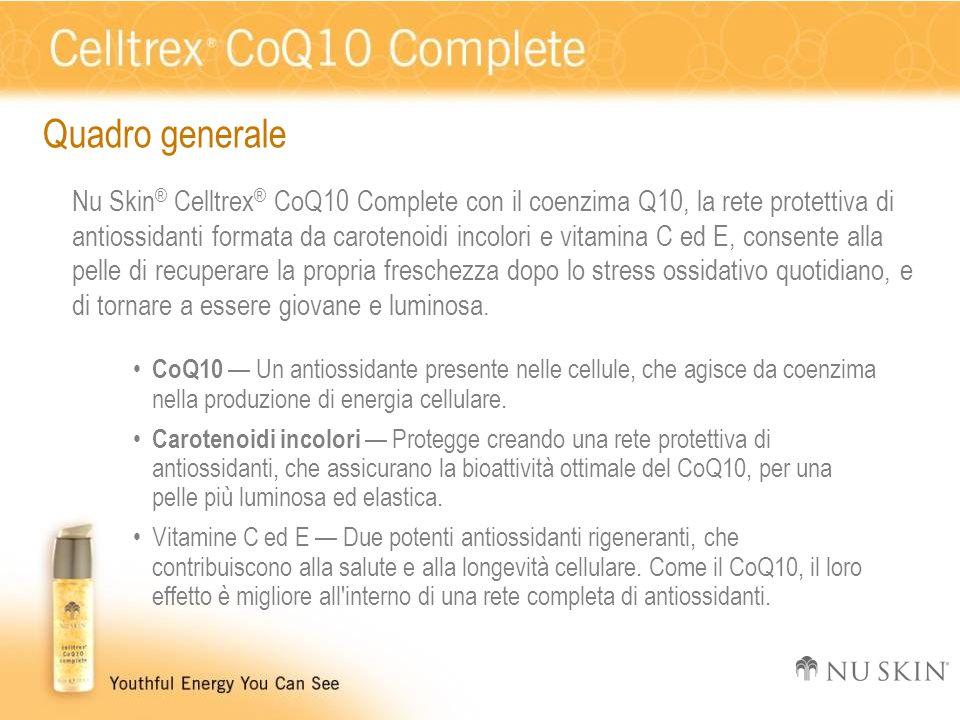 Quadro generale Nu Skin ® Celltrex ® CoQ10 Complete con il coenzima Q10, la rete protettiva di antiossidanti formata da carotenoidi incolori e vitamin