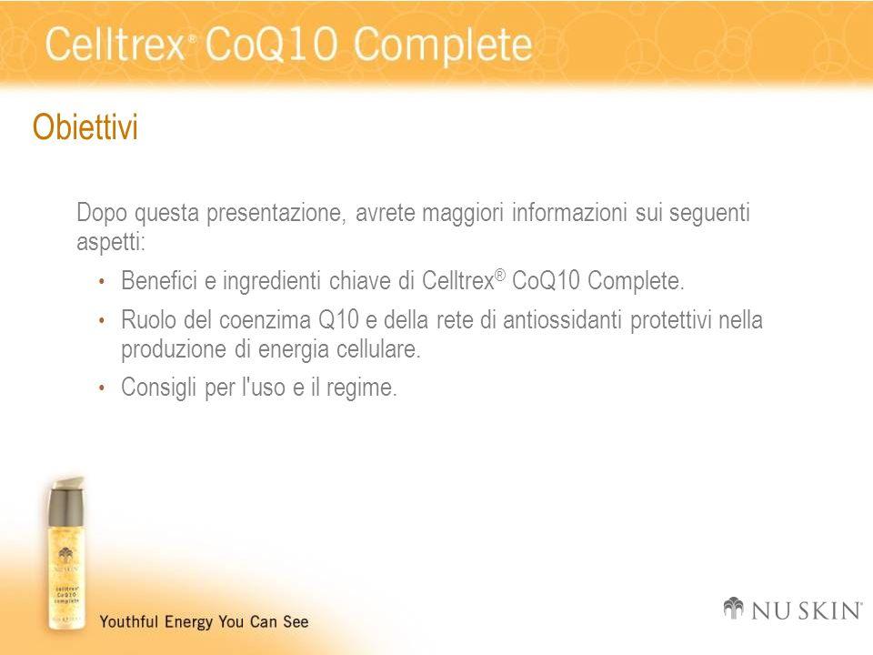 Obiettivi Dopo questa presentazione, avrete maggiori informazioni sui seguenti aspetti: Benefici e ingredienti chiave di Celltrex ® CoQ10 Complete. Ru