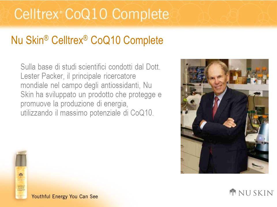 Nu Skin ® Celltrex ® CoQ10 Complete Sulla base di studi scientifici condotti dal Dott. Lester Packer, il principale ricercatore mondiale nel campo deg