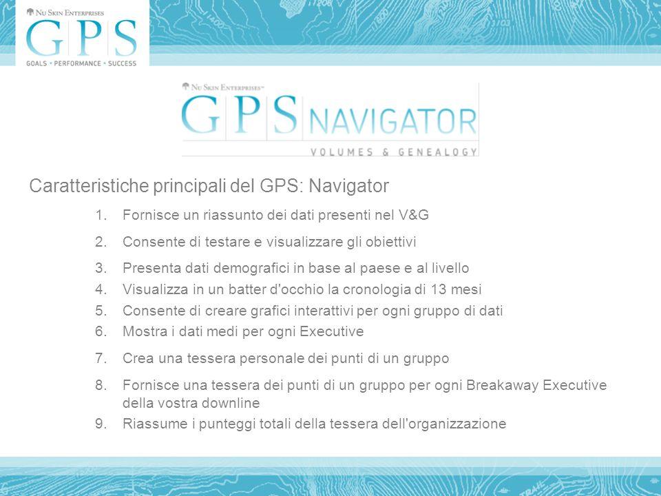 Caratteristiche principali del GPS: Navigator 1.Fornisce un riassunto dei dati presenti nel V&G 2.Consente di testare e visualizzare gli obiettivi 3.Presenta dati demografici in base al paese e al livello 4.Visualizza in un batter d occhio la cronologia di 13 mesi 5.Consente di creare grafici interattivi per ogni gruppo di dati 6.Mostra i dati medi per ogni Executive 7.Crea una tessera personale dei punti di un gruppo 8.Fornisce una tessera dei punti di un gruppo per ogni Breakaway Executive della vostra downline 9.Riassume i punteggi totali della tessera dell organizzazione