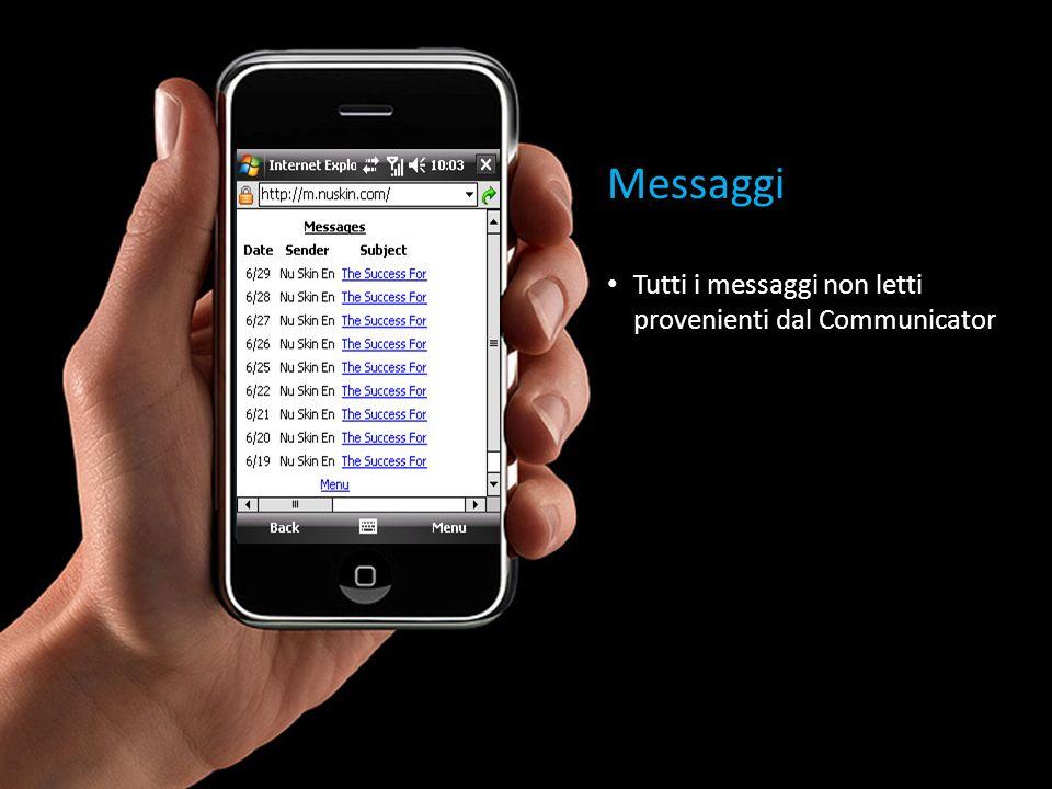 Messaggi Tutti i messaggi non letti provenienti dal Communicator