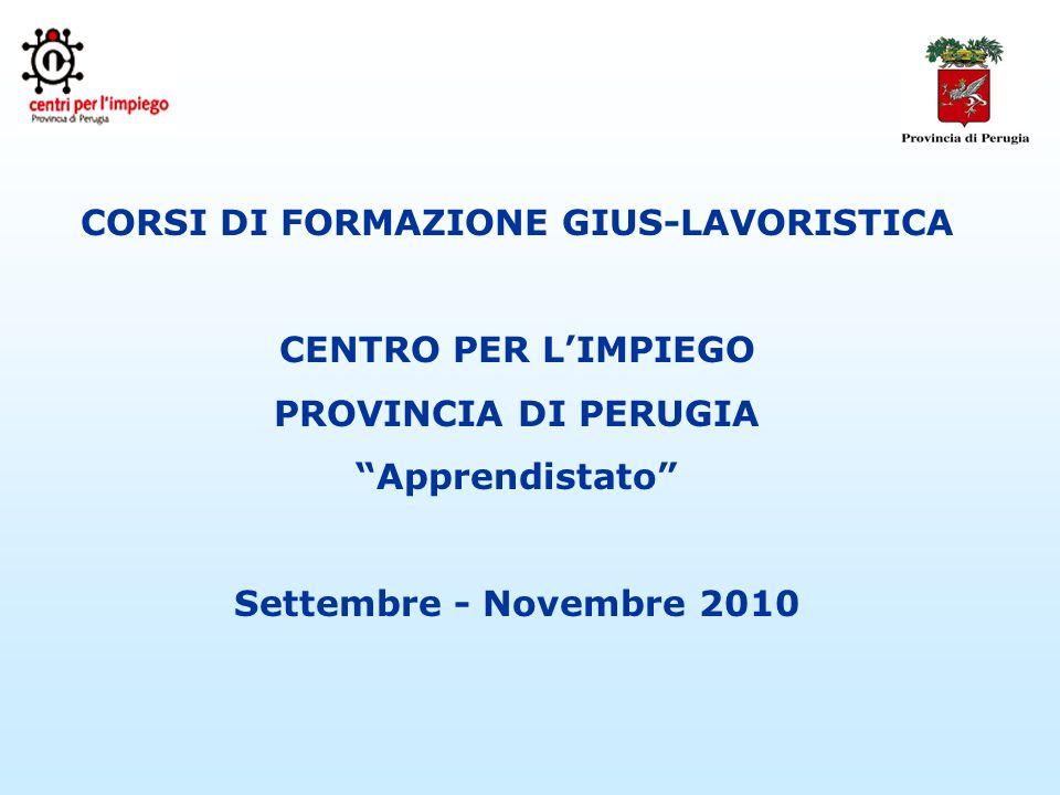 CORSI DI FORMAZIONE GIUS-LAVORISTICA CENTRO PER LIMPIEGO PROVINCIA DI PERUGIA Apprendistato Settembre - Novembre 2010