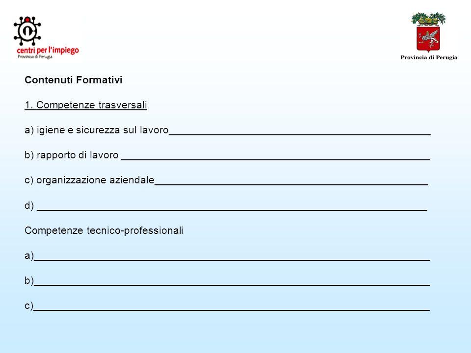 Contenuti Formativi 1.
