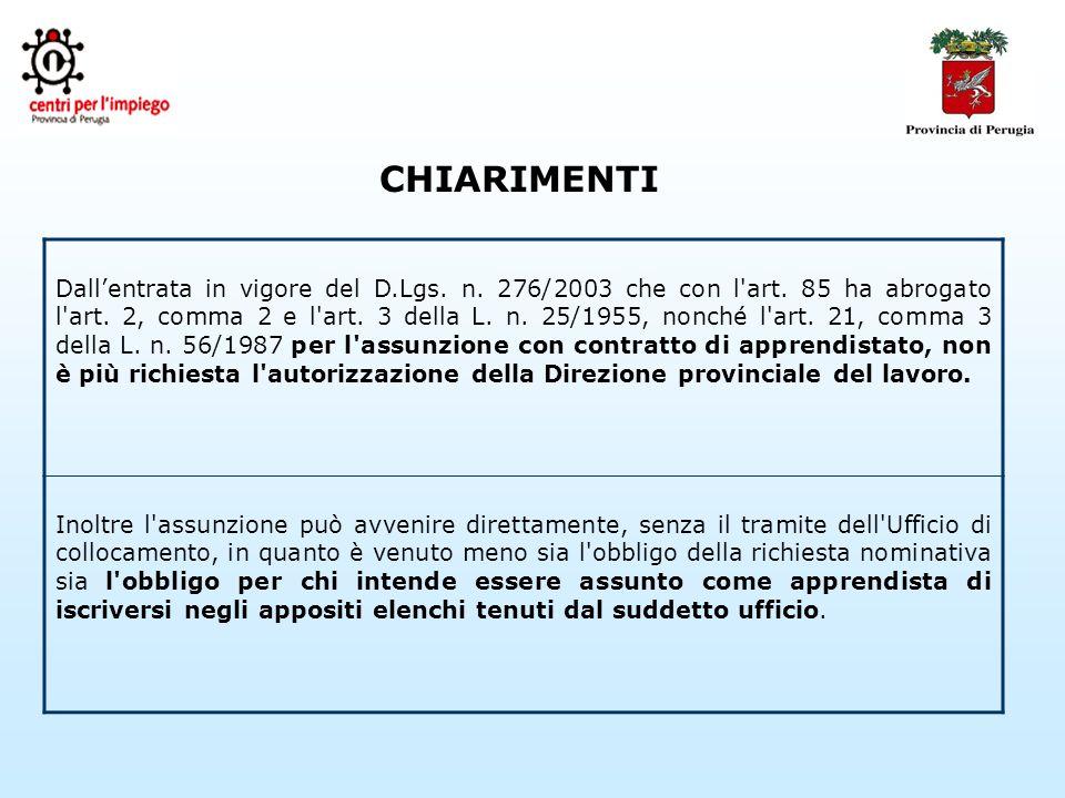 CHIARIMENTI Dallentrata in vigore del D.Lgs. n. 276/2003 che con l art.