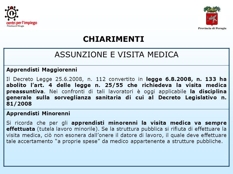 CHIARIMENTI ASSUNZIONE E VISITA MEDICA Apprendisti Maggiorenni Il Decreto Legge 25.6.2008, n.