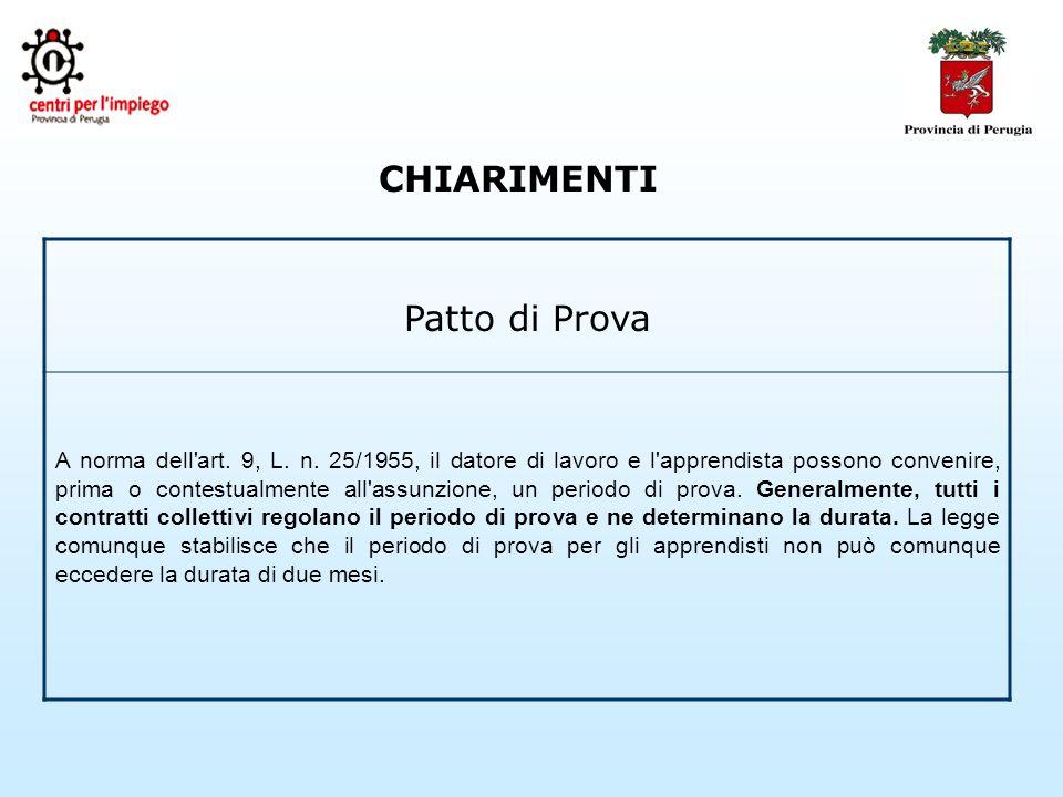 CHIARIMENTI Patto di Prova A norma dell art. 9, L.
