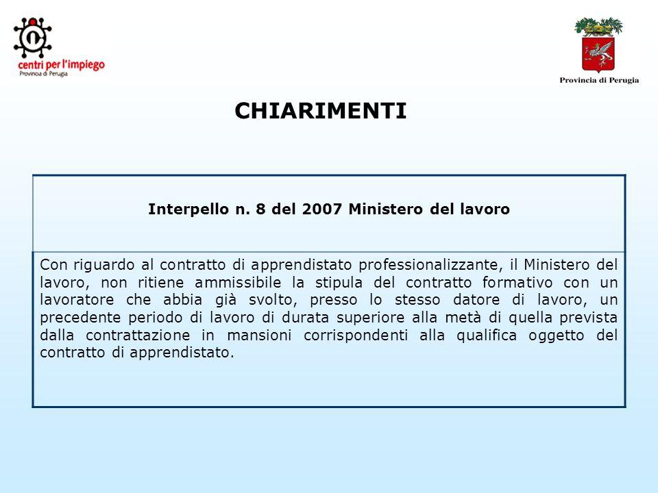 CHIARIMENTI Interpello n.