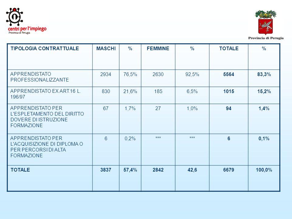 TIPOLOGIA CONTRATTUALEMASCHI%FEMMINE%TOTALE% APPRENDISTATO PROFESSIONALIZZANTE 293476,5%263092,5%556483,3% APPRENDISTATO EX ART.16 L.