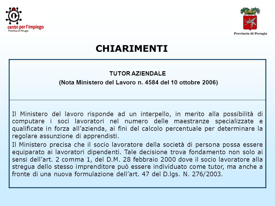 CHIARIMENTI TUTOR AZIENDALE (Nota Ministero del Lavoro n.
