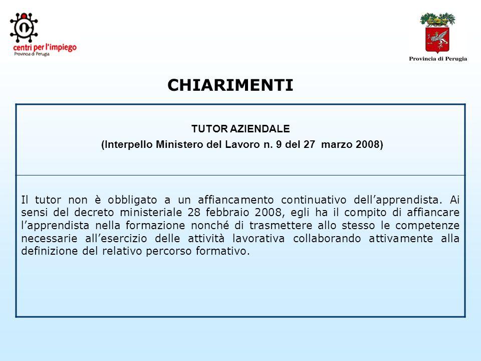 CHIARIMENTI TUTOR AZIENDALE (Interpello Ministero del Lavoro n.