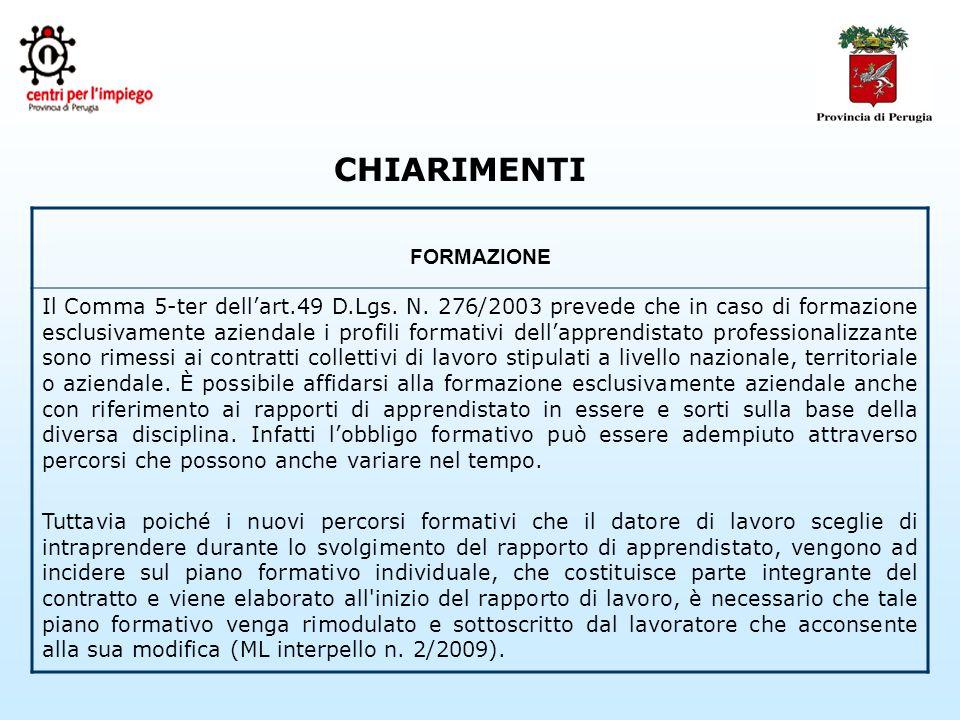 CHIARIMENTI FORMAZIONE Il Comma 5-ter dellart.49 D.Lgs.