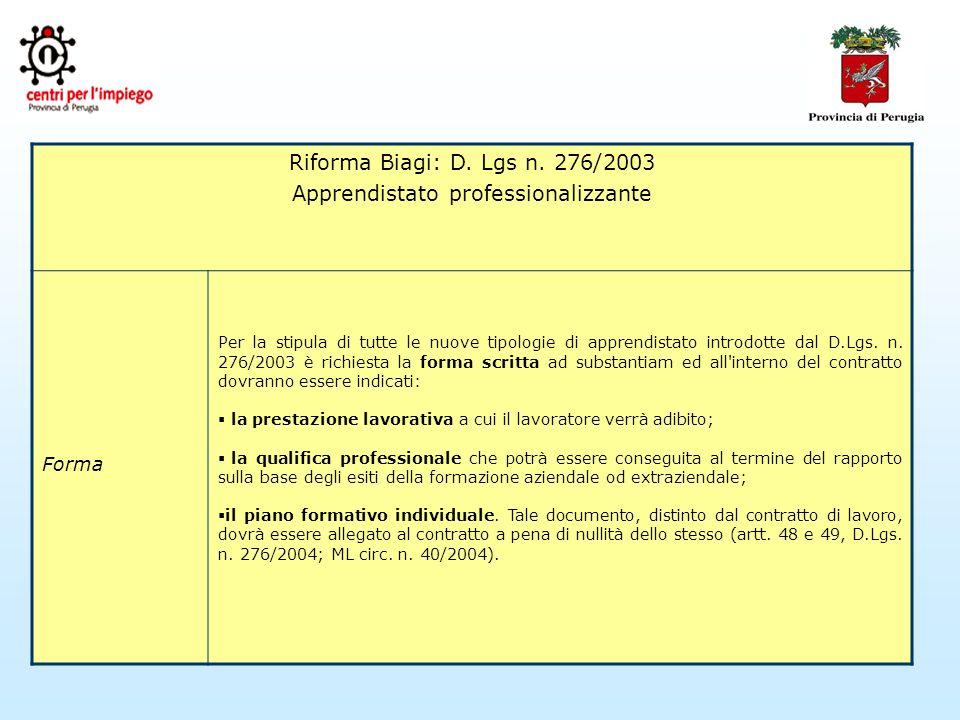 Riforma Biagi: D. Lgs n.