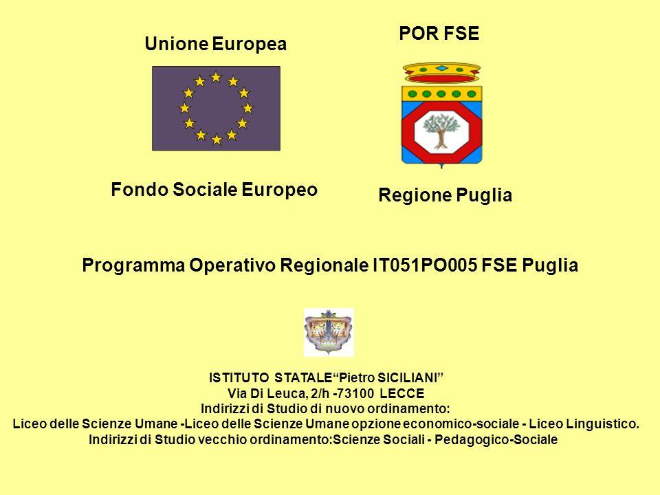 Unione Europea Fondo Sociale Europeo POR FSE Regione Puglia Programma Operativo Regionale IT051PO005 FSE Puglia ISTITUTO STATALEPietro SICILIANI Via D