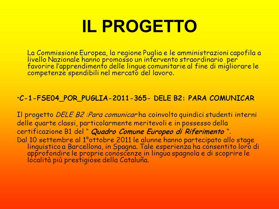 IL PROGETTO La Commissione Europea, la regione Puglia e le amministrazioni capofila a livello Nazionale hanno promosso un intervento straordinario per