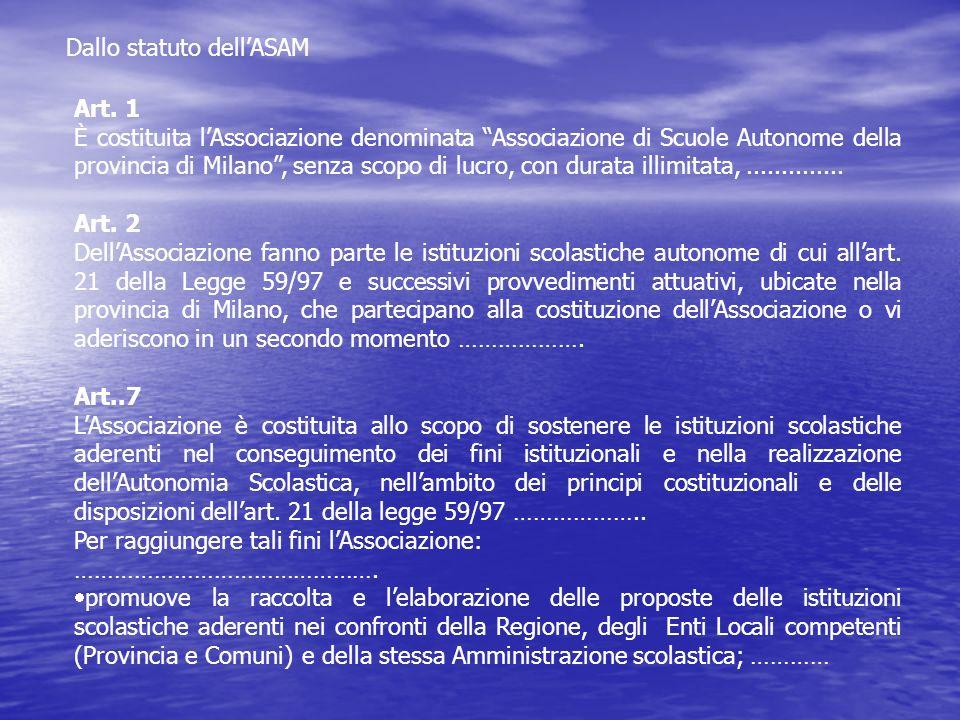 Dallo statuto dellASAM Art. 1 È costituita lAssociazione denominata Associazione di Scuole Autonome della provincia di Milano, senza scopo di lucro, c