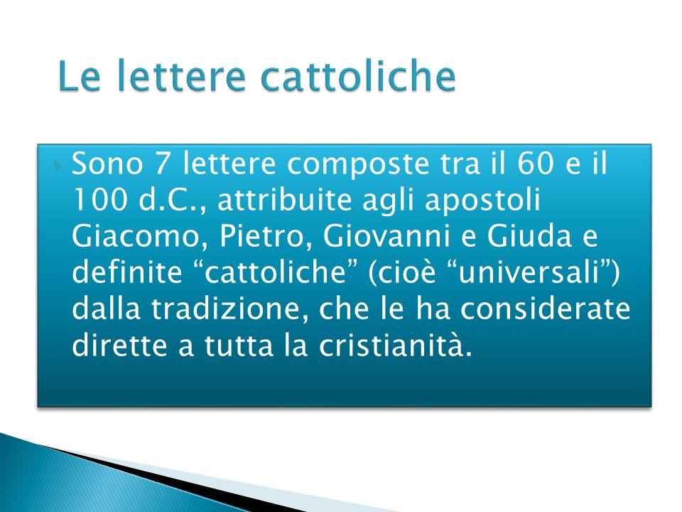 Sono 7 lettere composte tra il 60 e il 100 d.C., attribuite agli apostoli Giacomo, Pietro, Giovanni e Giuda e definite cattoliche (cioè universali) da