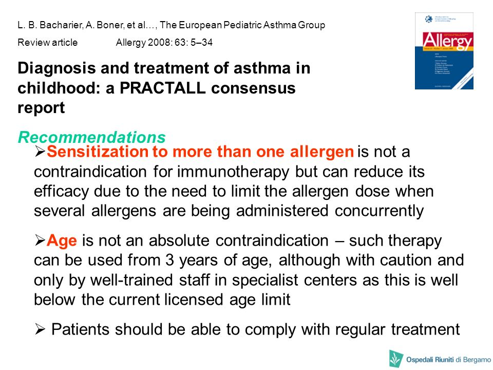 L. B. Bacharier, A. Boner, et al…, The European Pediatric Asthma Group Review articleAllergy 2008: 63: 5–34 Diagnosis and treatment of asthma in child