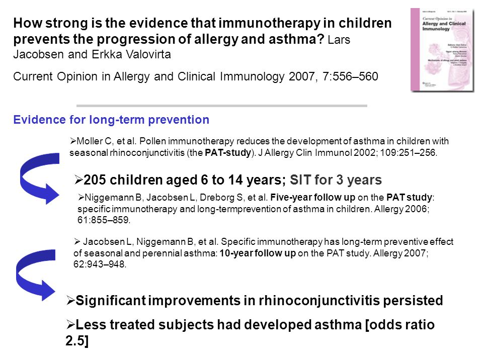 How strong is the evidence that immunotherapy in children prevents the progression of allergy and asthma.