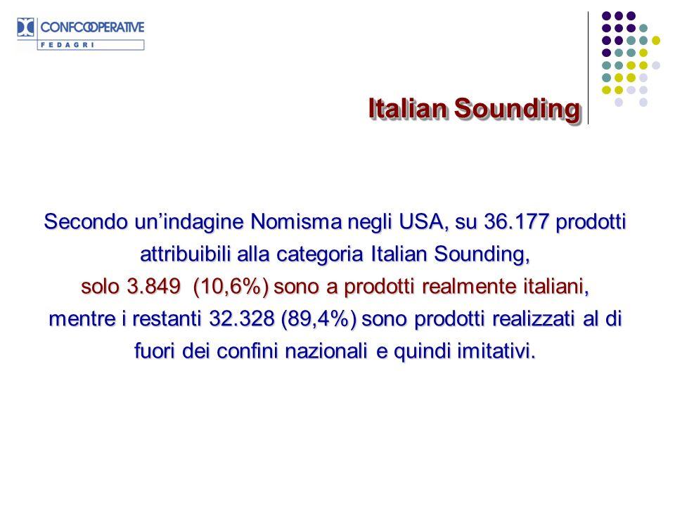 Valore di mercato dellItalian Sounding: 17,7 Mld $ di cui Valore di mercato dei prodotti realmente italiani: 1,5 Mld $ Valore del mercato dei prodotti imitativi: 16,2 Mld $ Italian Sounding Fonte: dati NOMISMA 2008